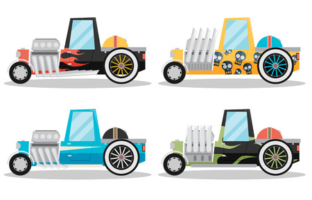 custom car: Vector Hotrod flat set Illustration
