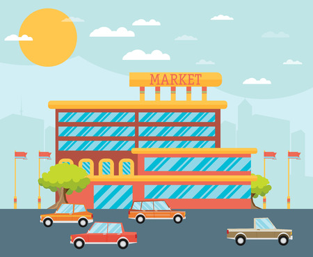 commercial building: Supermarket building facade with parking in front of it, flat vector illustration.
