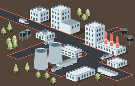 district': Vector isometric view of the industrial district Illustration