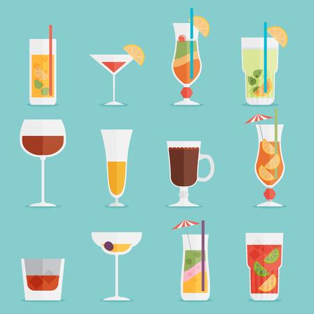 알코올 음료와 칵테일은 평면 디자인 스타일에서 설정 아이콘입니다.