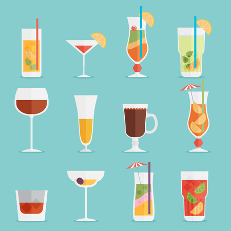colada: Alcohol drinks and cocktails icon set in flat design style.