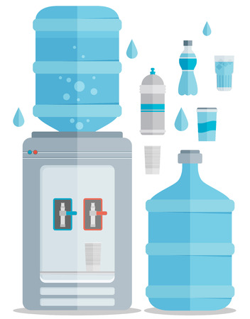 agua purificada: Iconos vectoriales planos establecidos para el agua.