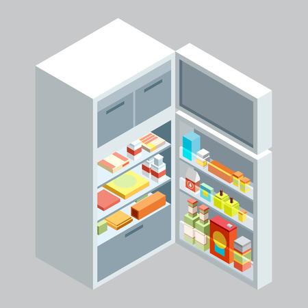 isometric fridge.flat illustration