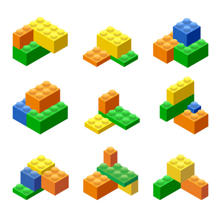 Isometric Plastic Building Blocks and Tiles Stock fotó - 44634417