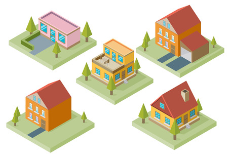 3d bungalow: Private house real estate decorative icons set 3d isometric isolated vector illustration