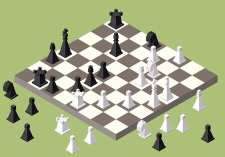 chess: isométrica de ajedrez. juego de la serie isométrica