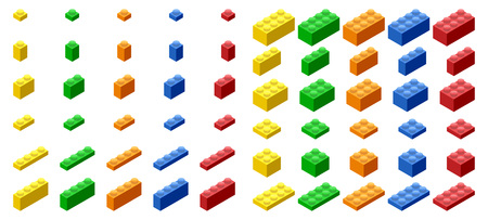 Isometric Plastic Building Blocks and Tiles Reklamní fotografie - 44634419