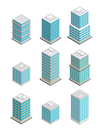 city building: A vector illustration of modern sate of the art office buildings. Isometric Office building icons. Urban city building set.