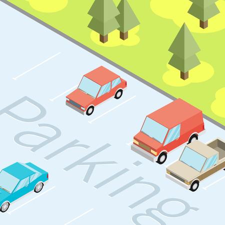 traffic violation: Isometric car parked. Flat vector Illustration