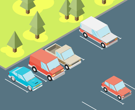 traffic violation: Isometric car parked. Flat vector Illustration