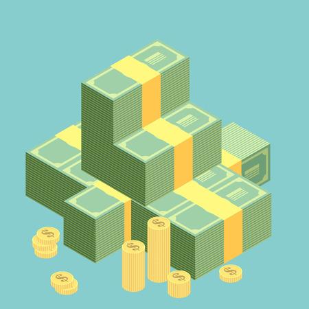 salarios: Pila grande de apilado de dinero en efectivo. Cientos de dólares. Estilo plano isométrico ilustración. 10 EPS vector.