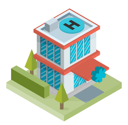 building icon: Vector isometric hospital building icon