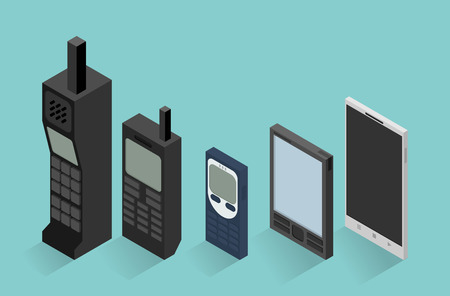 vintage telephone: Cell phone evolution illustration