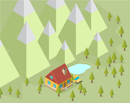 rural development: Landscape with house and trees in the isometric
