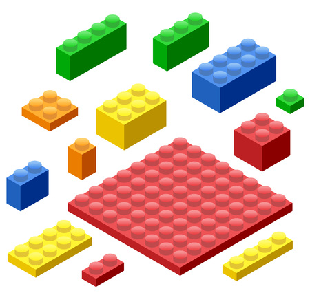 Isometric Plastic Building Blocks and Tiles