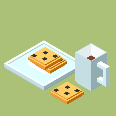 chocolate chip: isometric cup of coffee or tea and chocolate chip cookies