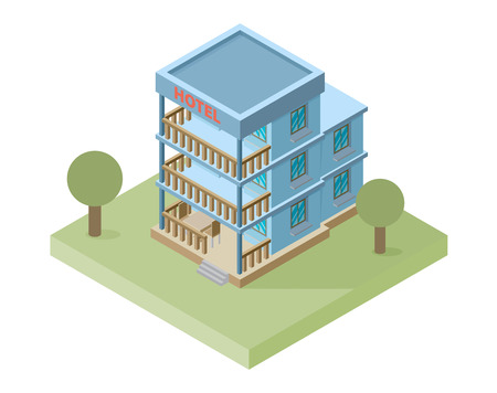 hotel building: Vector isometric hotel building icon