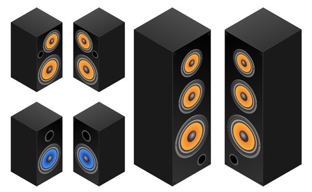amp tower: Set of the audio speakers.