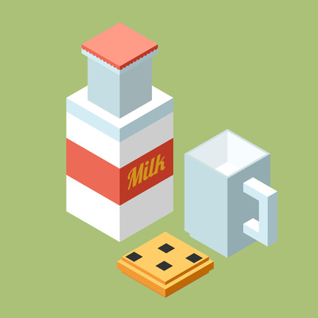 chocolate chip: Stylish isometric glass of milk and chocolate chip cookie. Illustration