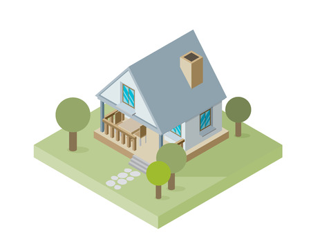 small house: Isolated isomatic small house, Vector Property Set