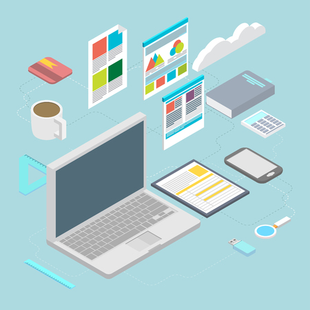 Isometric design vector illustration concept icons set of modern programmer workflow for web coding and html programming user interface elements.