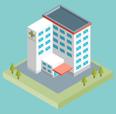 public hospital: Isometric medium hospital buiding, health and medical