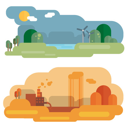 Flat design concept illustration with icons of ecology, environment, green energy and pollution Ilustração