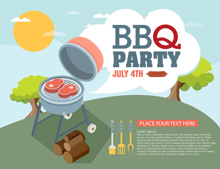 outdoor event: Invitation card on the barbecue