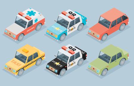 arrière plan noir et blanc: Définir des voitures isométriques