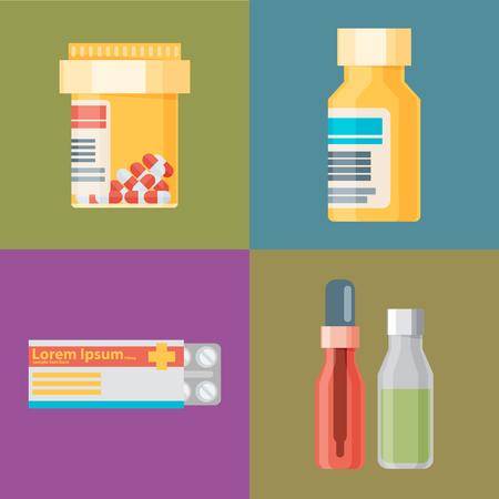 farmacia: Iconos de farmacia, píldoras y cápsulas. Ilustración Salud realizado en diseño plano. Vectores