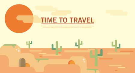 desierto: estilo de terreno plano escénico desierto soleado de verano salvaje oeste plantilla de residuos duna. Paisajes colección de ilustración.