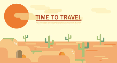 Flat style land scenic sunny summer desert wild west dune waste template. Landscapes illustration collection. Illustration