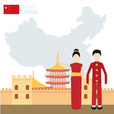 mapa de china: Pareja china en trajes nacionales en un fondo de mapa de China. Concepto del recorrido. Ilustración vectorial Flat eps 10 Vectores