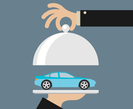 picture of human hand holding tray with car, flat style illustration