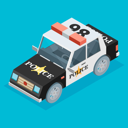 motor cop: Isometric black and white police car
