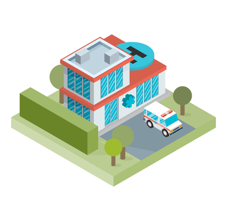 office building exterior: isometric hospital building icon Illustration