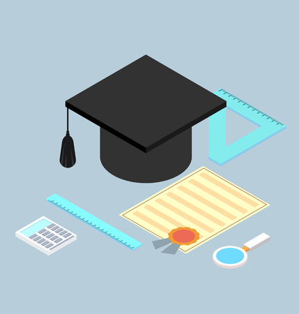 valedictorian: graduation cap, diploma, school accessories certificate colorful flat style illustration