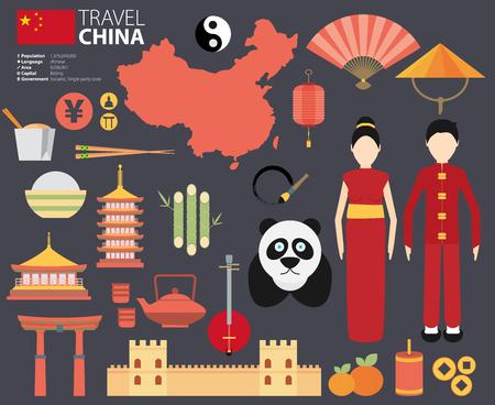 중국 플랫 아이콘 디자인