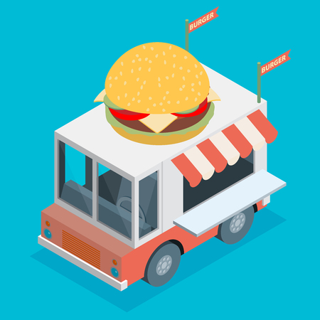 Isometric Illustration of food truck in flat style