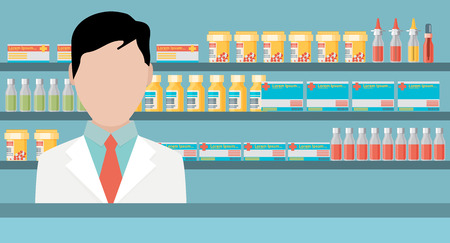 pharmacy store: Modern flat vector illustration of a male pharmacist at the counter in a pharmacy opposite the shelves with medicines. Health care conceptual background
