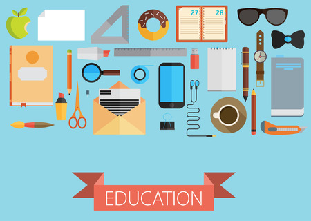 jobsite: flat set of equipment for education. School objects for creativity. Flat style design illustration