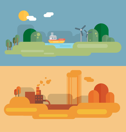 pollution: Flat design concept illustration with icons of ecology, environment, green energy and pollution Illustration