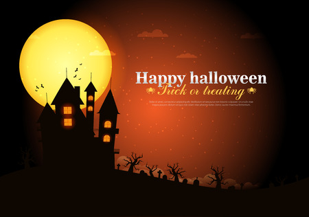 traditional background: Castle on top of the mountain. Happy Halloween.