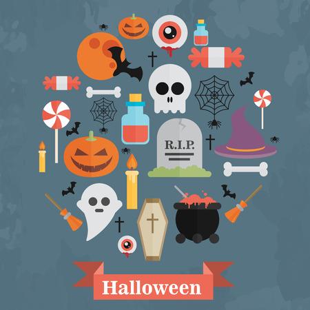 arrange: Halloween Concept. Flat Icons Arrange in the Circle Illustration