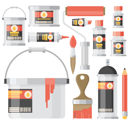 art supplies: Flat design illustration icons set of art supplies, art instruments for painting, drawing isolated on white background Illustration