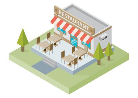 Platte isometrische restaurant gebouw met tafels en stoelen op een witte achtergrond