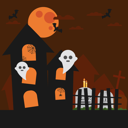 haunted: Haunted house, bat, ghost. Cloud in the sky Halloween card. Orange background Flat design illustration