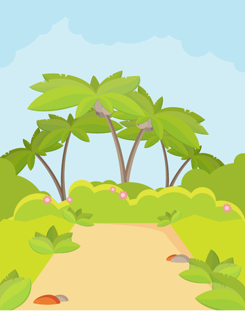 forest path: Jungle Forest Green Landscape with Road Path and Blue Sky Illustration