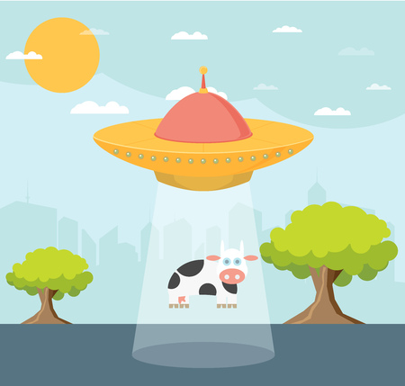 abduction: Cartoon UFO: Cow Abduction