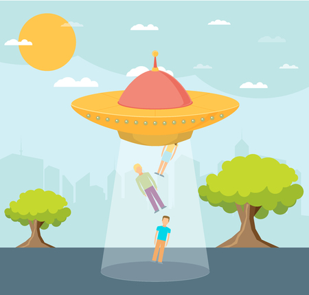 abduction: Cartoon UFO: People Abduction